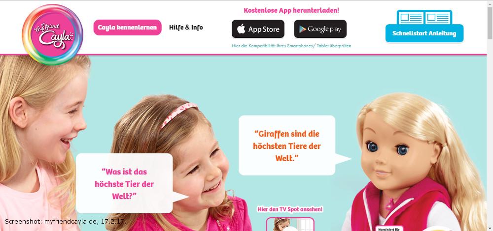 """Bietet sich online noch unverdrossen als Freundin an: Abhörpuppe """"Cayla"""" (Screenshot: http://myfriendcayla.de/ am 17.2.17)."""